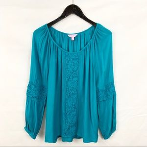 Lilly Pulitzer Cyan Blue Briony Crochet Blouse